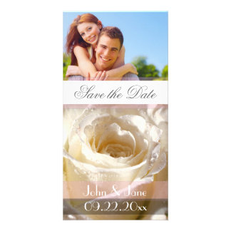 """White Rose  /photo  """"Save the Date"""" Card"""