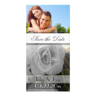 """White Rose  /photo  """"Save the Date"""" Photo Card"""