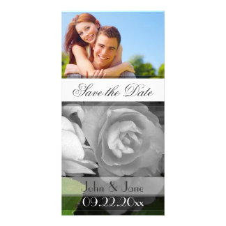 """White Rose  /photo  """"Save the Date"""" Photo Greeting Card"""