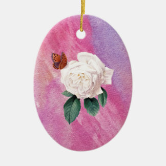 white rose pink watercolor paper ceramic ornament