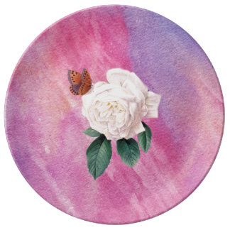 white rose pink watercolor paper plate