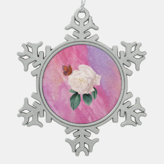 white rose pink watercolor paper snowflake pewter christmas ornament