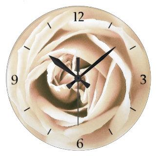 White rose print large clock