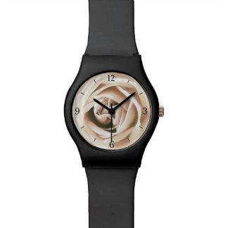 White rose print wrist watch