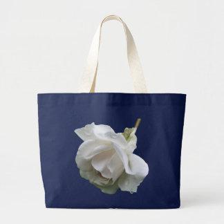 White Rose Raindrops Flower Photo Tote Bag
