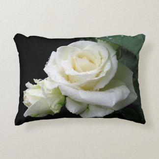 White Rose Raindrops Oblong Pillow
