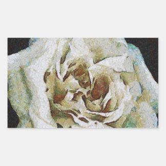 White Rose Rectangular Sticker
