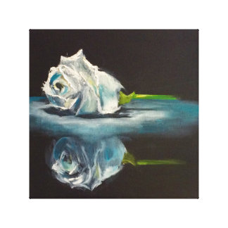 White Rose reflected on black Canvas Print