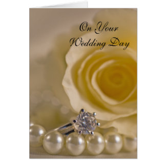 White Rose, Ring and Pearls Blended Family Wedding Card
