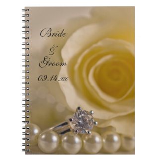 White Rose, Ring and Pearls Wedding Notebook