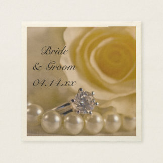 White Rose, Ring and Pearls Wedding Paper Napkin