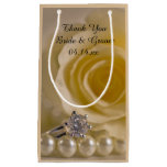 White Rose, Ring And Pearls Wedding Thank You Small Gift Bag at Zazzle