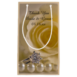 White Rose, Ring and Pearls Wedding Thank You Small Gift Bag