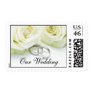 White Rose Rings Wedding Invitation Postage Stamp