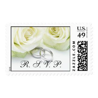 White Rose Rings Wedding RSVP Postage Stamp