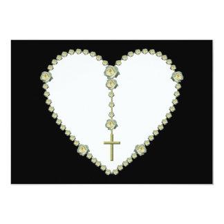 White rose Rosary 5x7 Paper Invitation Card