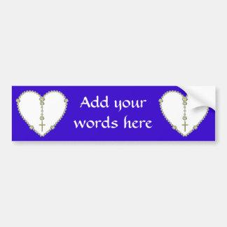 White rose Rosary Car Bumper Sticker