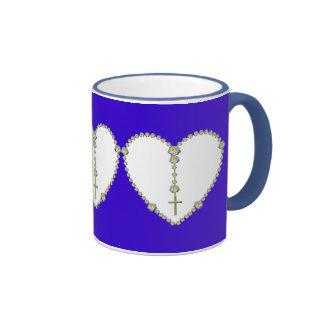 White rose Rosary Coffee Mug