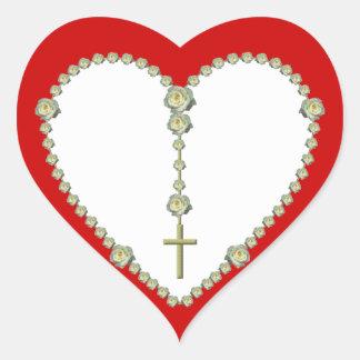White rose Rosary Heart Sticker