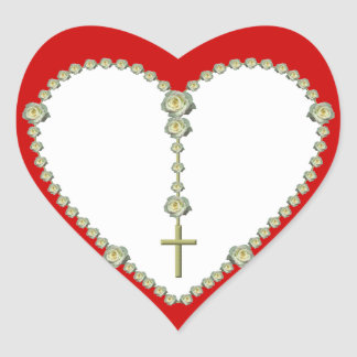 White rose Rosary Heart Stickers