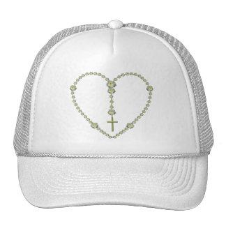White rose Rosary Mesh Hat