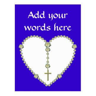 White rose Rosary Postcard