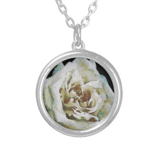 White Rose Round Pendant Necklace