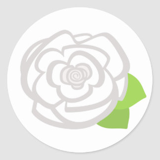 White Rose Round Stickers