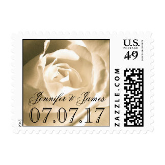 WHITE ROSE SAVE THE DATE POSTAGE STAMP