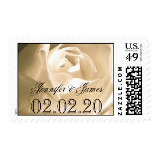 White Rose Save the Date Postage Stamps