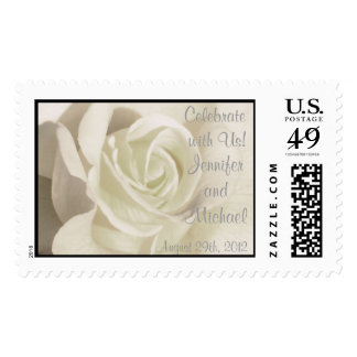 White Rose Save the Date Stamp