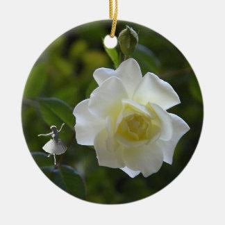 White Rose Shadow Fairy Ornament