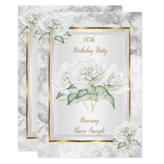 White Rose Silver Gold Birthday Party Invite