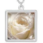 White Rose Square Pendant Necklace