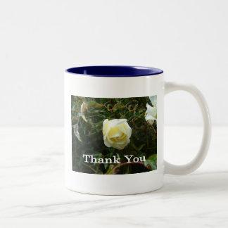 White Rose Thank You Two-Tone Coffee Mug