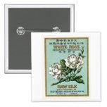 White Rose Vintage Japanese Silk Label Pinback Button
