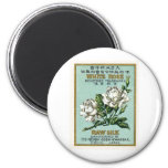 White Rose Vintage Japanese Silk Label Fridge Magnets
