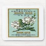 White Rose Vintage Japanese Silk Label Mouse Pads