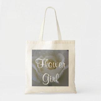 White Rose Wedding Tote Bags