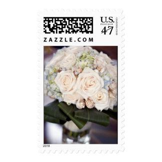 White Rose Wedding Bouquet Postage Stamp