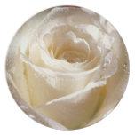 White Rose Wedding or Bridal Shower Plate