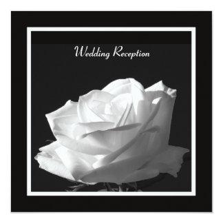 "White Rose Wedding Reception Only Invitation 5.25"" Square Invitation Card"