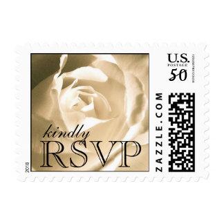White Rose Wedding RSVP Postage Stamps