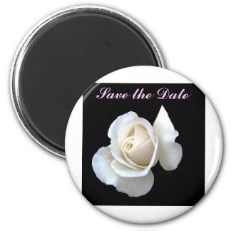 White Rose Wedding Stationery 2 Inch Round Magnet