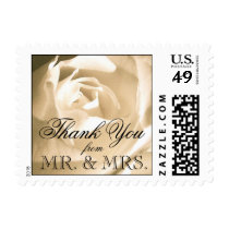 White Rose Wedding Thank You Postage