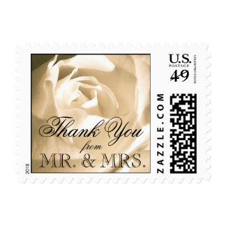 White Rose Wedding Thank You Stamps