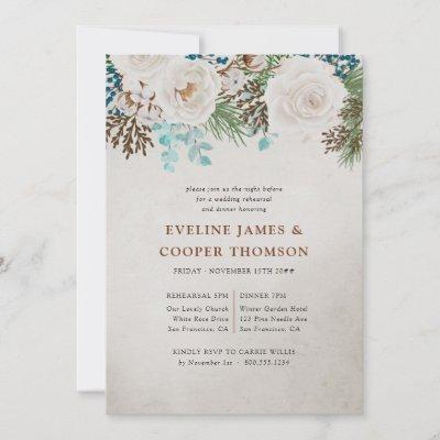 White Rose Winter Wedding Rehearsal Dinner Invitation