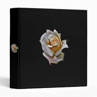 WHITE ROSE WITH BLACK BACKGROUND 3 RING BINDER