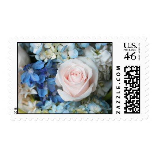White Rose With Blue Flowers Stamp (Medium)