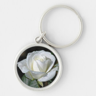 White Rose with Dew Keychain
